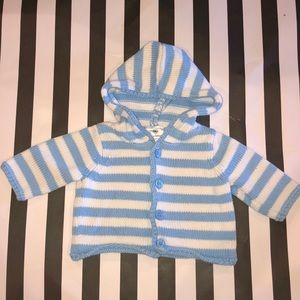 Hanna Andersson Striped Hooded Jacket Knit Newborn
